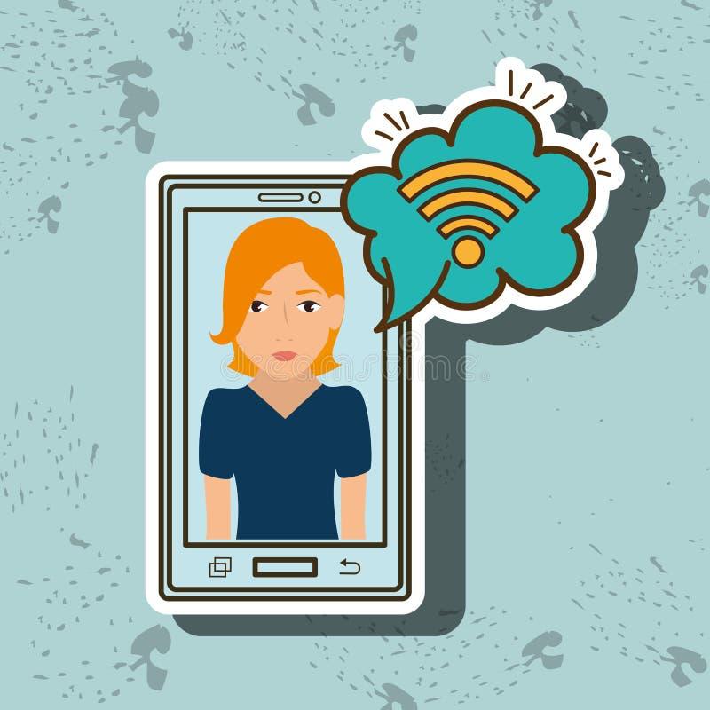 nube del wifi del smartphone de la mujer de la historieta ilustración del vector