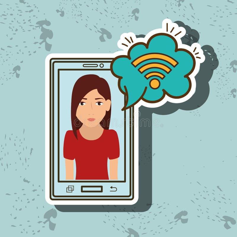 nube del wifi del smartphone de la mujer de la historieta libre illustration