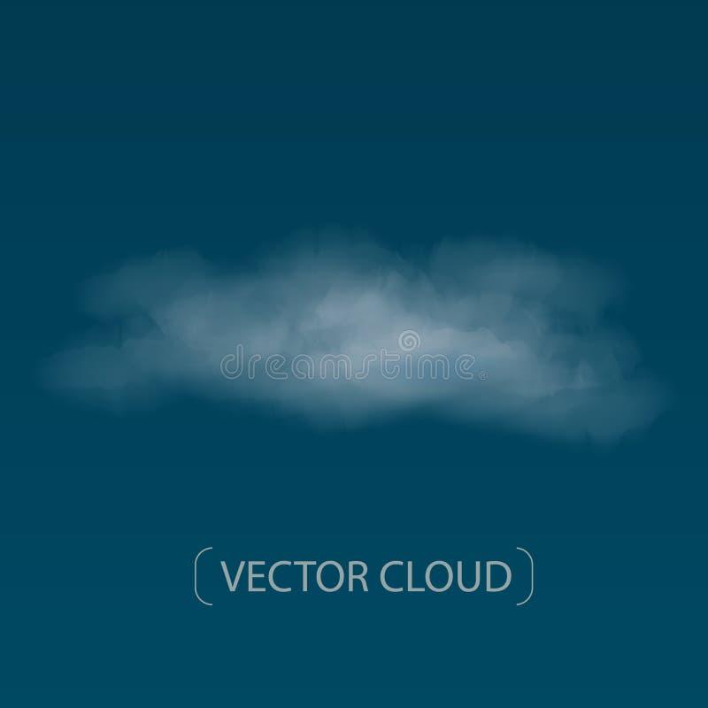 Nube detallada realista y alta del vector en fondo azul libre illustration