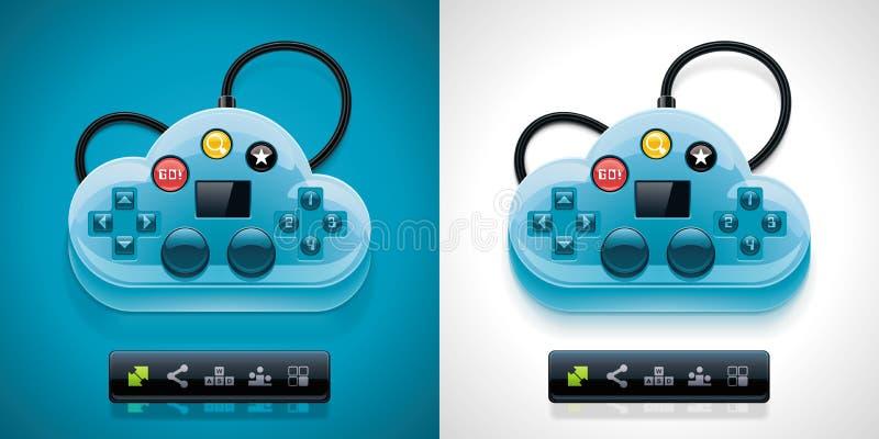 Nube di gamers di vettore che computa l'icona di XXL illustrazione di stock