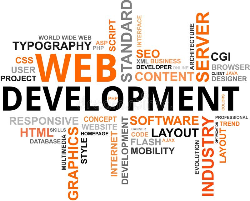 Nube di parola - sviluppo di Web illustrazione di stock
