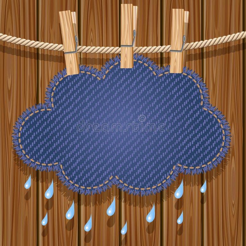 Nube di pioggia su un clothesline royalty illustrazione gratis