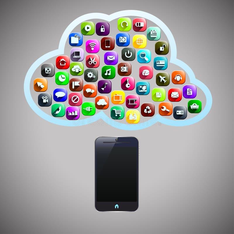 Nube elegante del teléfono stock de ilustración