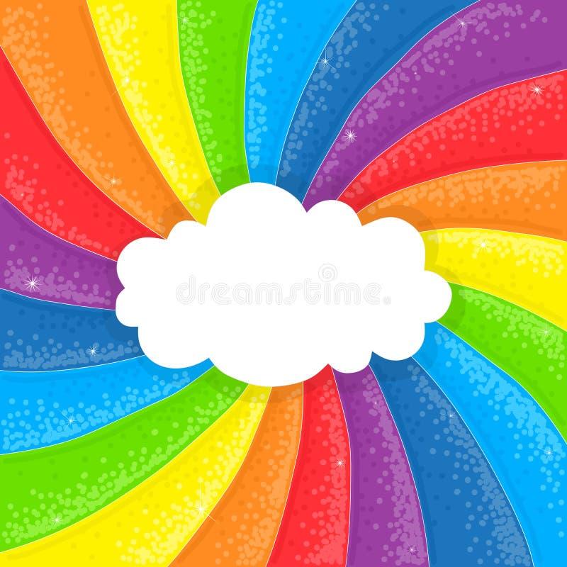 Nube en fondo del arco iris ilustración del vector