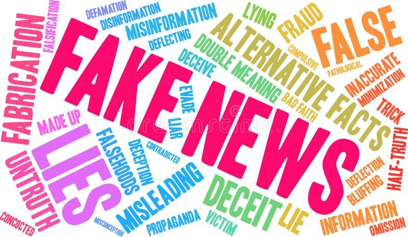 Nube falsa de la palabra de las noticias stock de ilustración