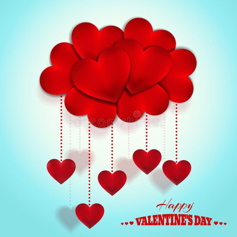 Nube feliz de los corazones del día de tarjetas del día de San Valentín Diseño del vector del día de fiesta stock de ilustración