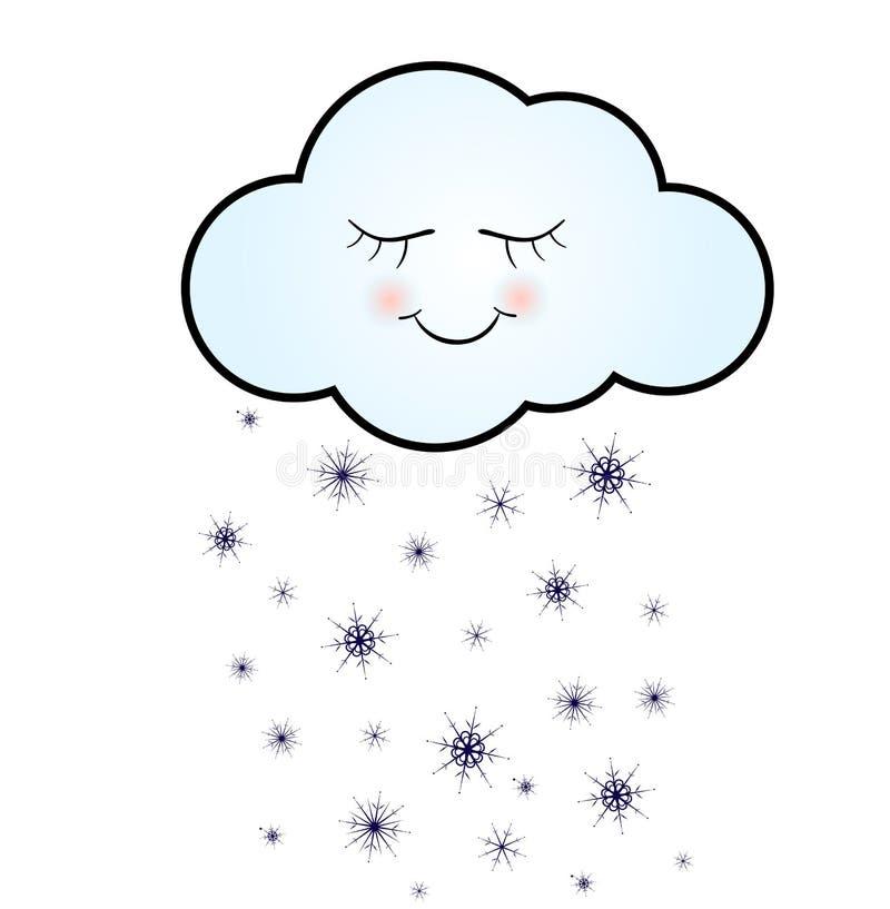 Nube feliz linda con el ejemplo del vector de los copos de nieve, de la impresión o del icono stock de ilustración