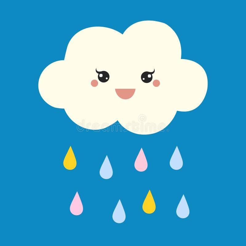 Nube feliz linda con gotas de lluvia, la impresi?n o el ejemplo del vector del icono stock de ilustración