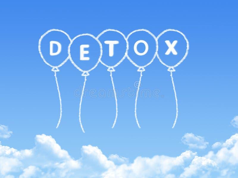 Nube formada como mensaje del detox stock de ilustración