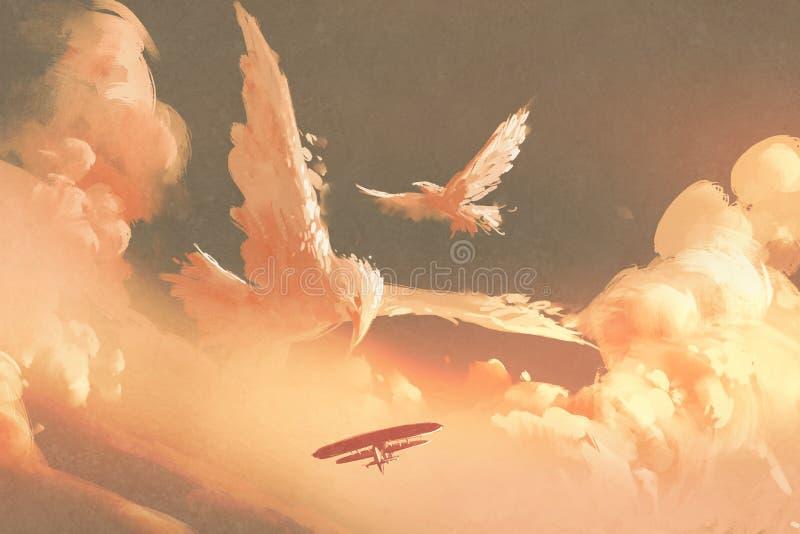 Nube formada pájaros en cielo de la puesta del sol ilustración del vector