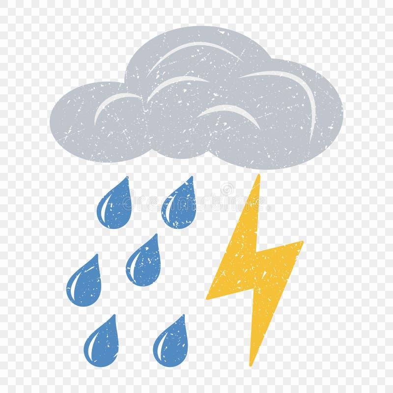 Nube gris del Grunge con el icono del relámpago y de la lluvia El ejemplo de la historieta de nubes con el relámpago y la lluvia  ilustración del vector