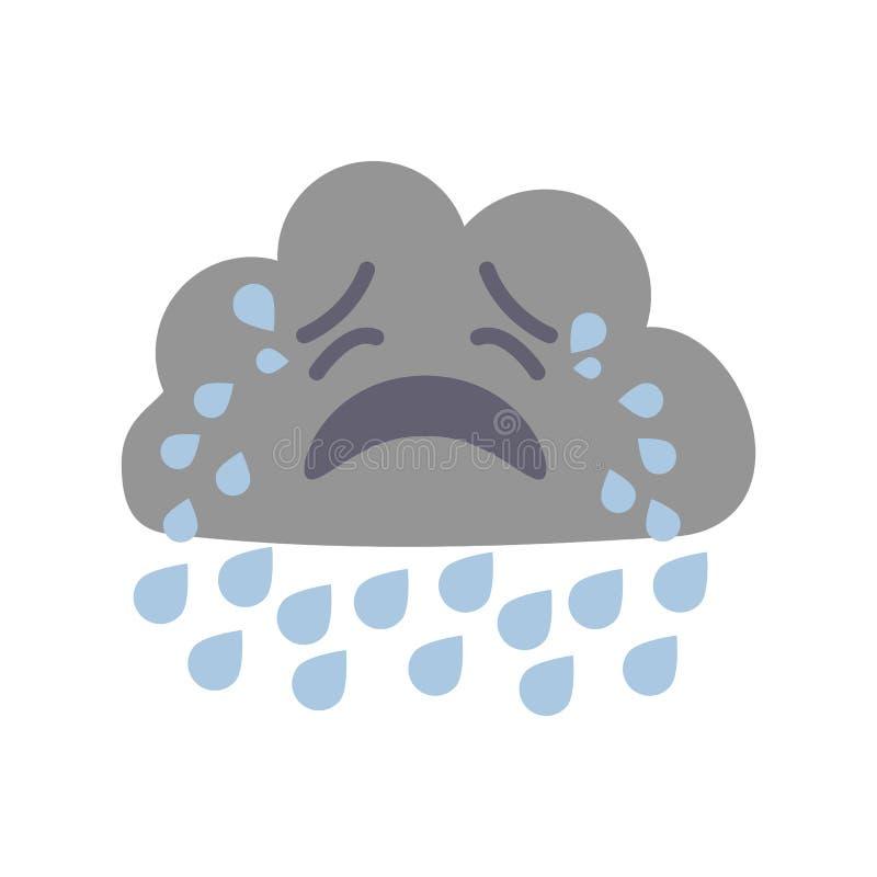 Nube gritadora de la muestra de la previsión metereológica del personaje de dibujos animados Vector stock de ilustración