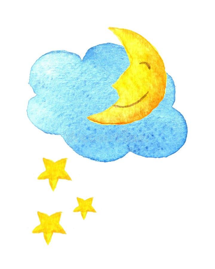 Nube linda de la historieta, estrellas y luna sonriente Ejemplo dibujado mano de la acuarela dibujo pintado Agua-color ilustración del vector