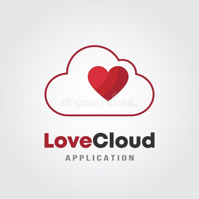 Nube Logo Template del amor con el corazón y el concepto de diseño de la nube Desarrollo de programas, aplicación de software, ap libre illustration
