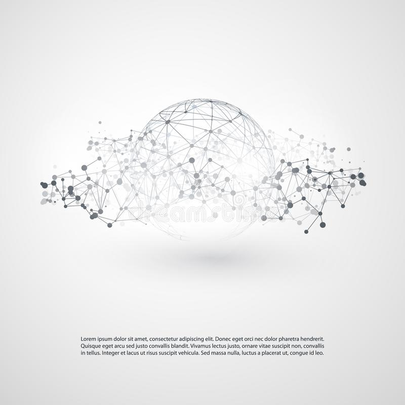 Nube mínima moderna blanco y negro que computa, estructura de redes, diseño de concepto de las telecomunicaciones, conexiones del ilustración del vector