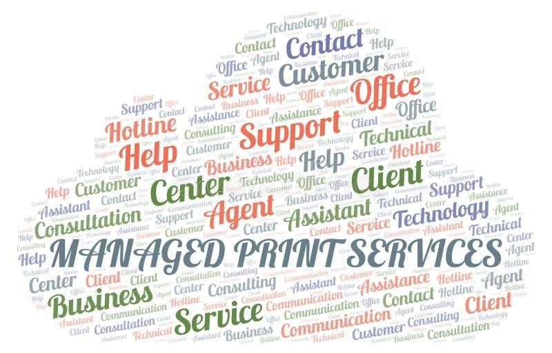 Nube manejada de la palabra de servicios de la impresión ilustración del vector
