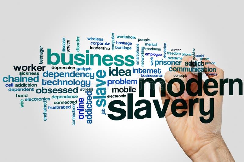 Nube moderna de la palabra de la esclavitud foto de archivo libre de regalías