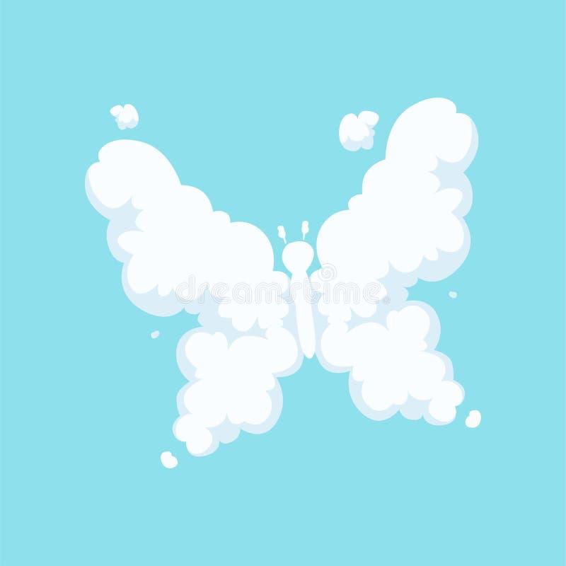 Nube mullida en la forma de mariposa del vuelo con las alas abiertas La historieta embroma estilo Icono del insecto Diseño plano  libre illustration