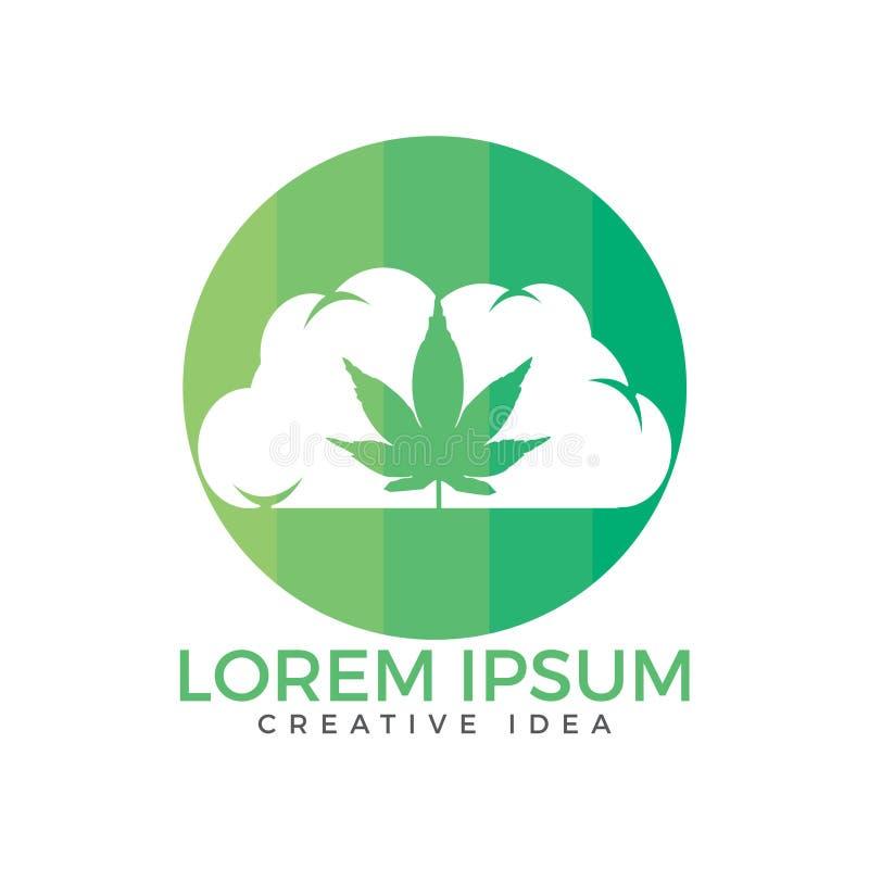 Nube o humo con diseño del logotipo de la hoja de la marijuana stock de ilustración