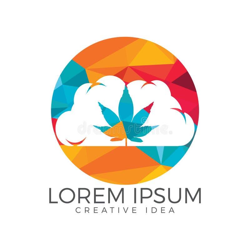 Nube o humo con diseño del logotipo de la hoja de la marijuana ilustración del vector