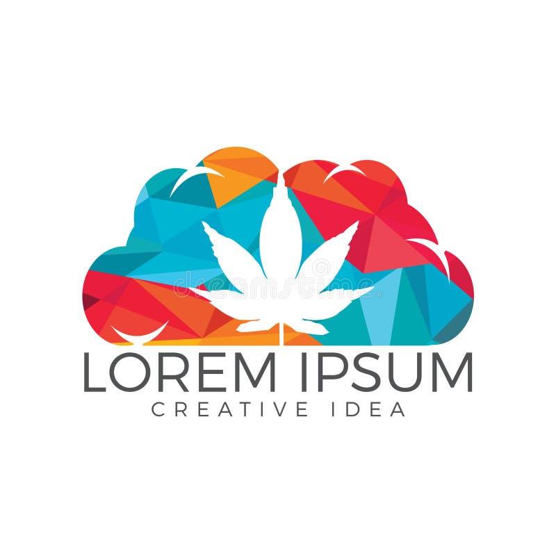 Nube o humo con diseño del logotipo de la hoja de la marijuana libre illustration