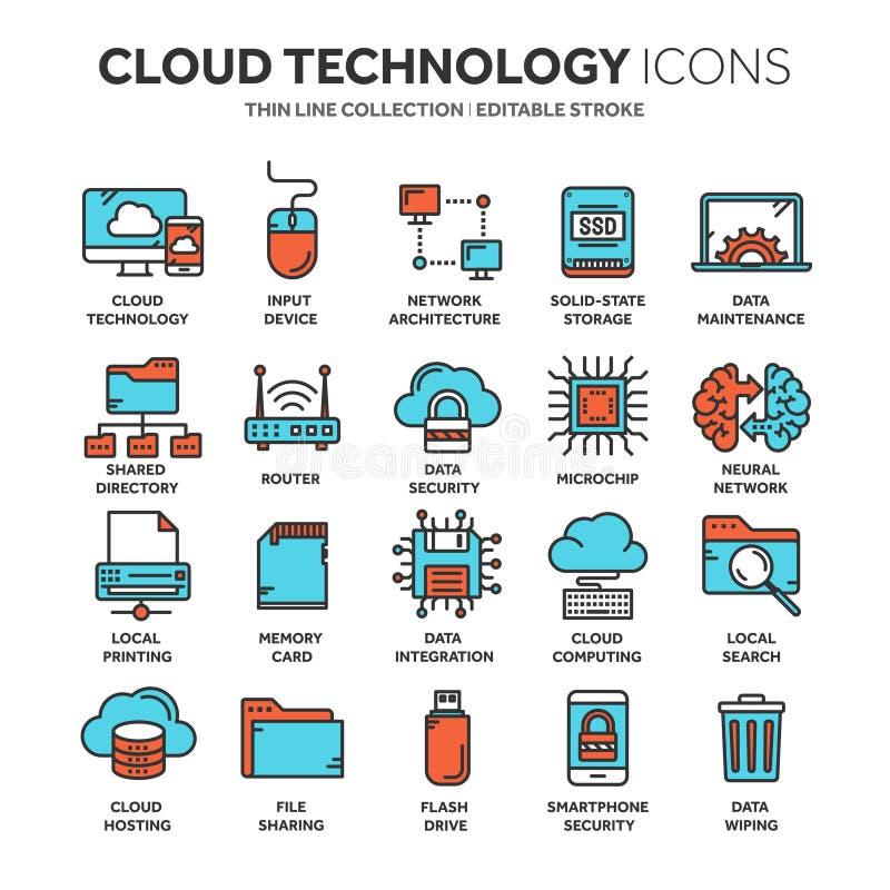 Nube omputing Tecnología del Internet Servicios onlines Datos, seguridad de información conexión Línea fina icono azul del web ilustración del vector