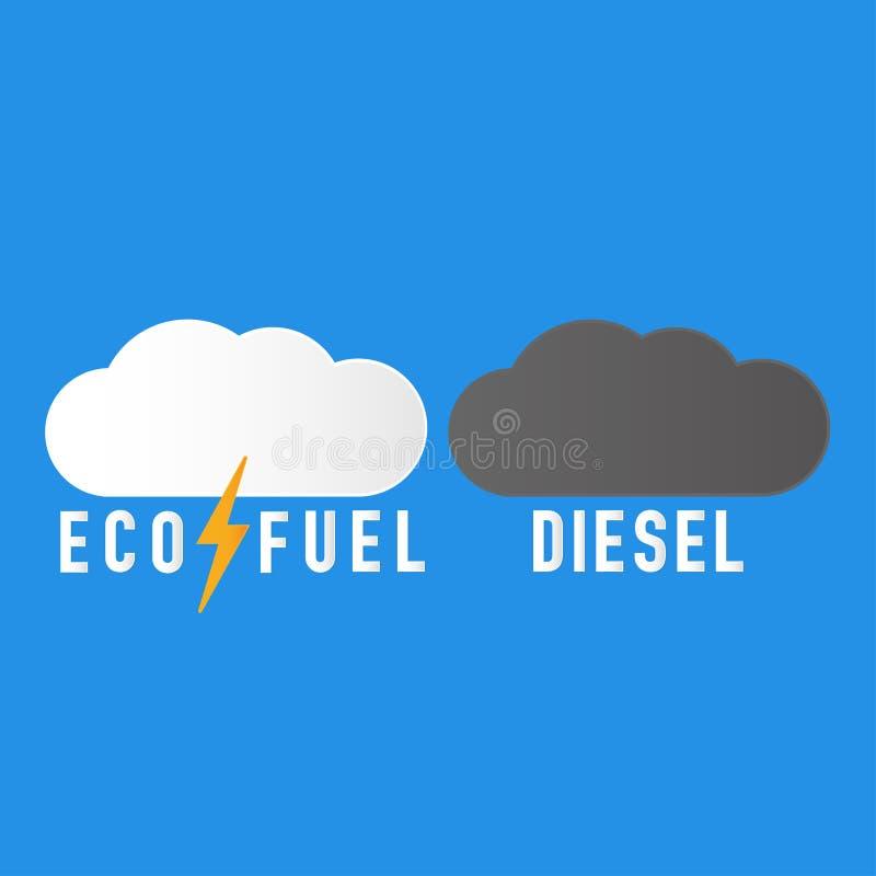 Nube oscura del diesel en el cielo libre illustration