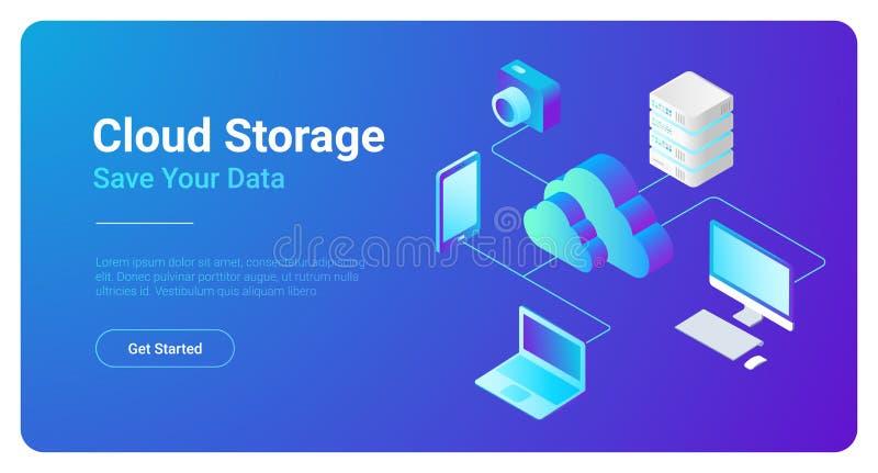 Nube plana isométrica que recibe el vector Storag de la red libre illustration