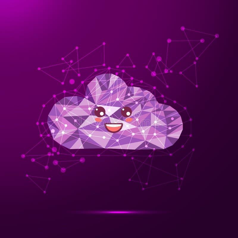 Nube polivinílica baja de la sonrisa Ejemplo del icono de la tecnología ilustración del vector