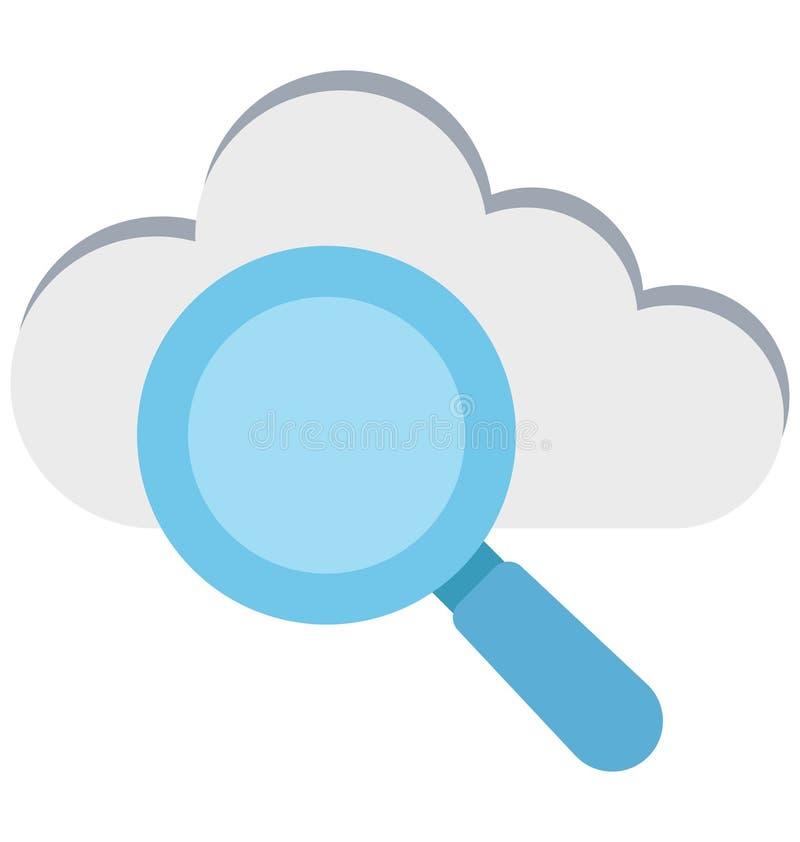 Nube que busca, nube con la lupa, iconos aislados del vector que pueden ser modificados o corregir fácilmente stock de ilustración