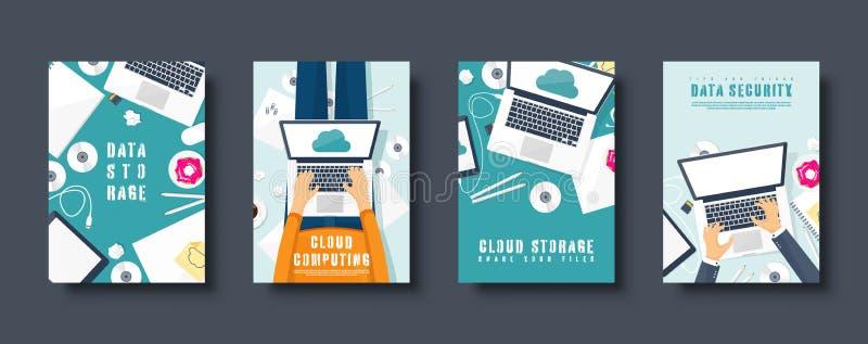 Nube que computa el sistema plano de las cubiertas del estilo Medios, servidor de datos Almacenamiento del web Tecnolog?as de Dig stock de ilustración