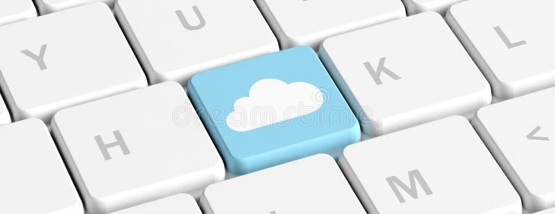 Nube que computa, llave azul en un teclado de ordenador, bandera ilustración 3D stock de ilustración