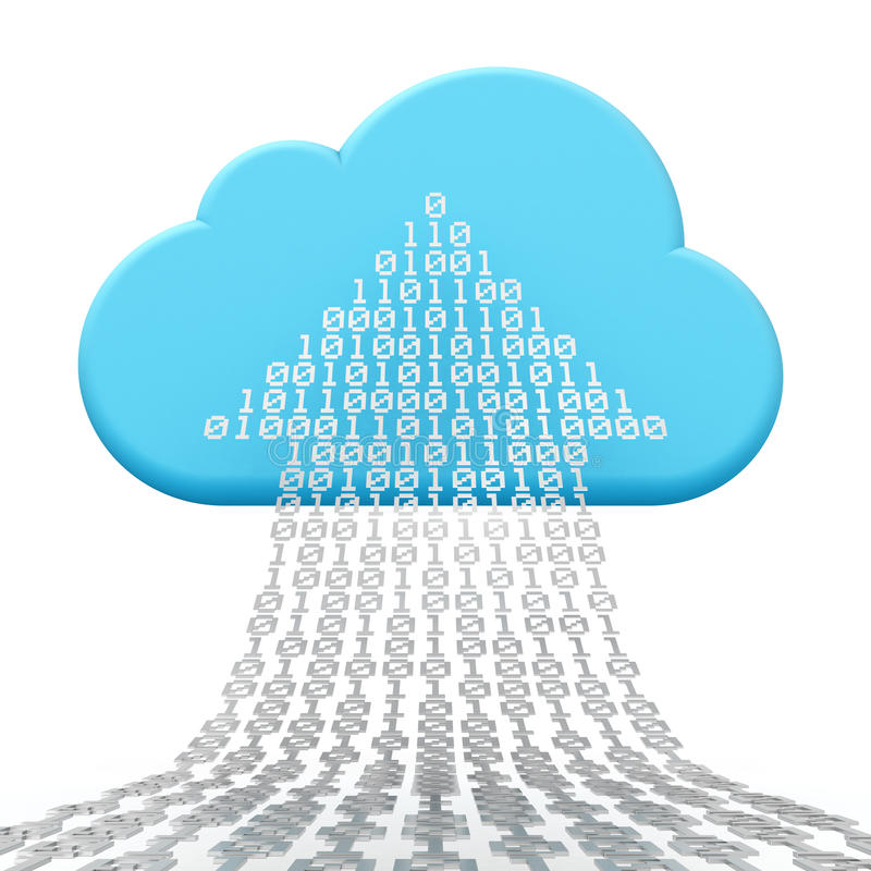 Nube que computa y que carga por teletratamiento ilustración del vector