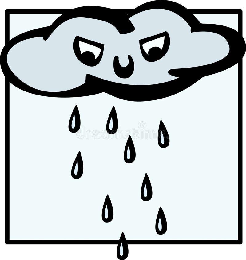 Nube que llueve enojada stock de ilustración