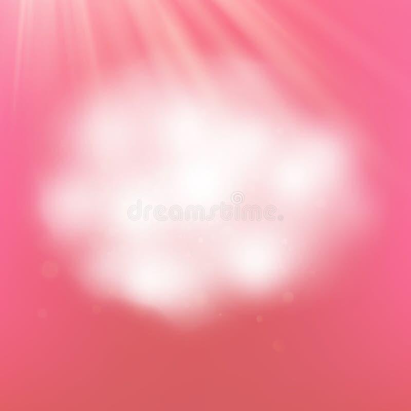 Nube realista romántica del estilo en fondo rosado Fronteras mullidas de la nube con la transparencia EPS 10 ilustración del vector