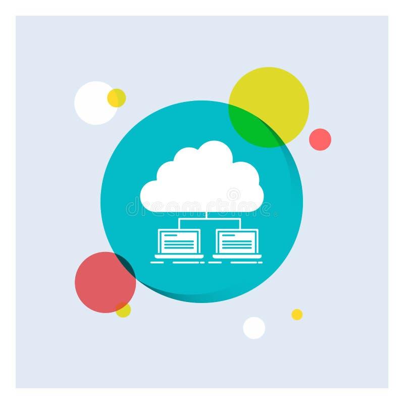 nube, red, servidor, Internet, fondo colorido del círculo del icono blanco del Glyph de los datos libre illustration