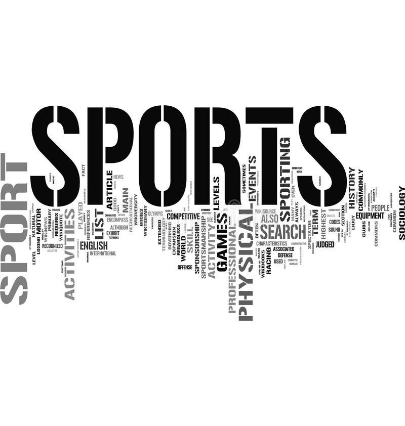 Nube relacionada de las palabras de los deportes ilustración del vector