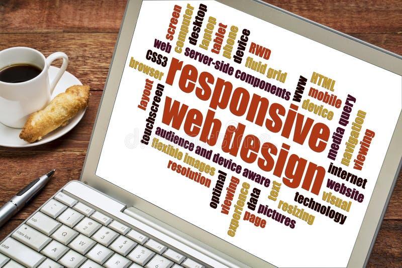Nube responsiva de la palabra del diseño web imagen de archivo