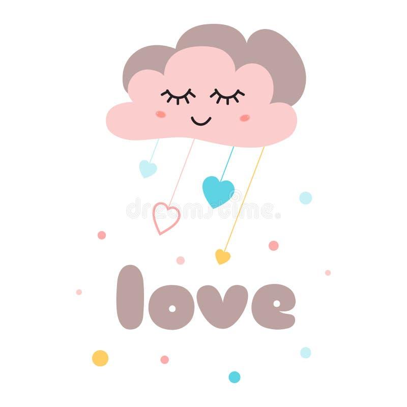 Nube rosada linda del amor del texto del cartel de los niños con el ejemplo feliz del vector de la plantilla de la fiesta de bien stock de ilustración
