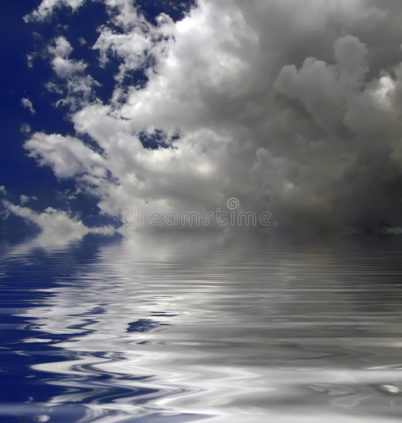 Nube sobre el agua ilustración del vector