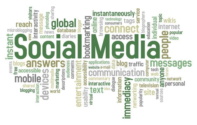 Nube social de la palabra de los media ilustración del vector