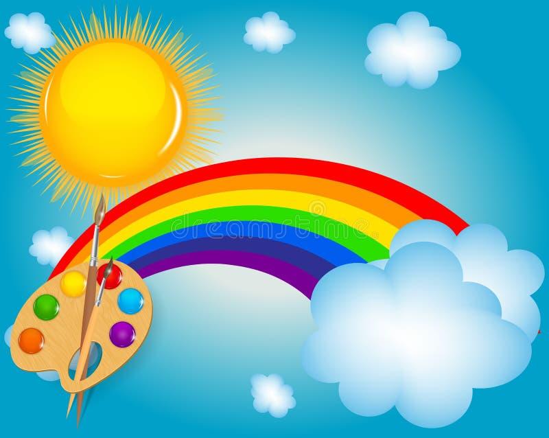 Nube, sol, fondo del ejemplo del vector del arco iris stock de ilustración