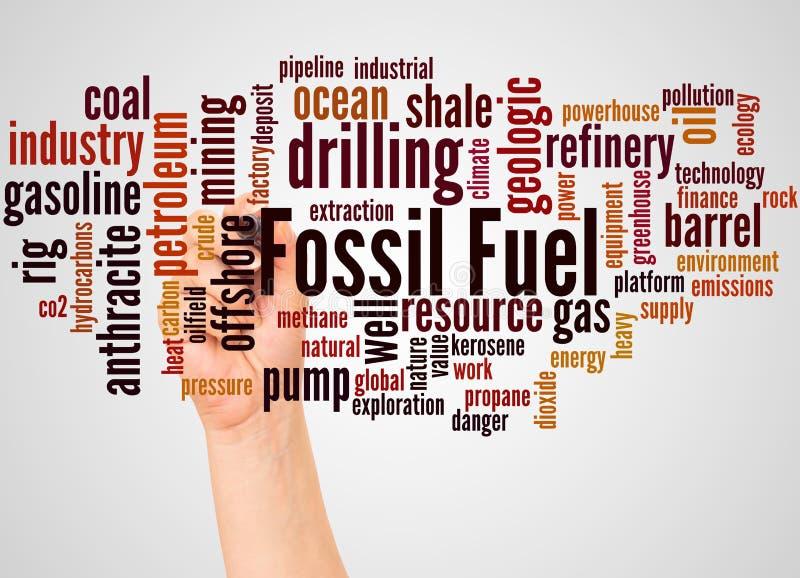 Nube y mano de la palabra del combustible fósil con concepto del marcador libre illustration