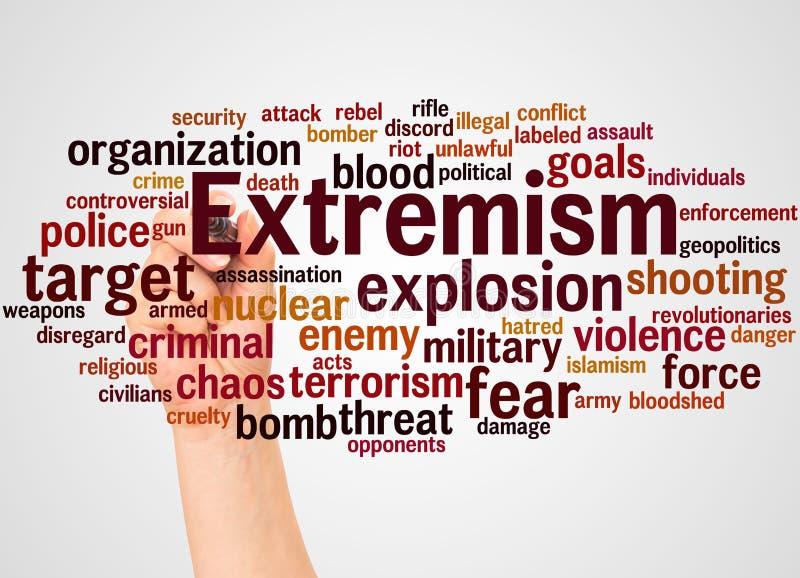 Nube y mano de la palabra del extremismo con concepto del marcador ilustración del vector