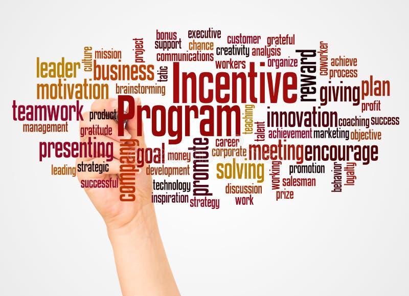 Nube y mano de la palabra del programa incentivo con concepto del marcador ilustración del vector