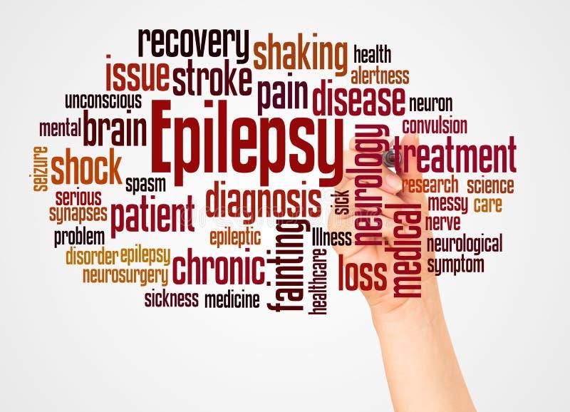 Nube y mano de la palabra de la epilepsia con concepto del marcador ilustración del vector