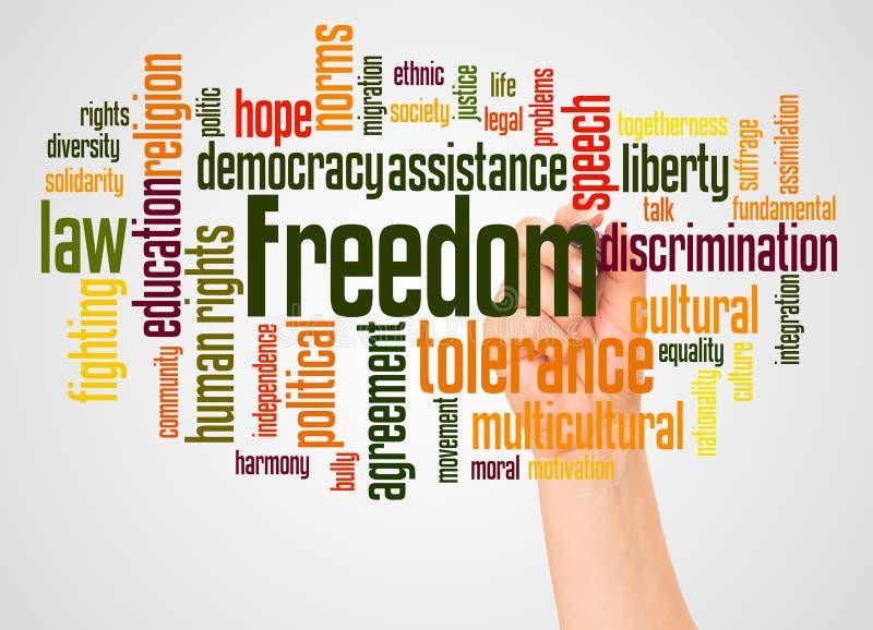 Nube y mano de la palabra de la libertad con concepto del marcador foto de archivo