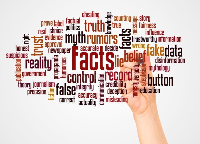 Nube y mano de la palabra de los hechos con concepto del marcador libre illustration