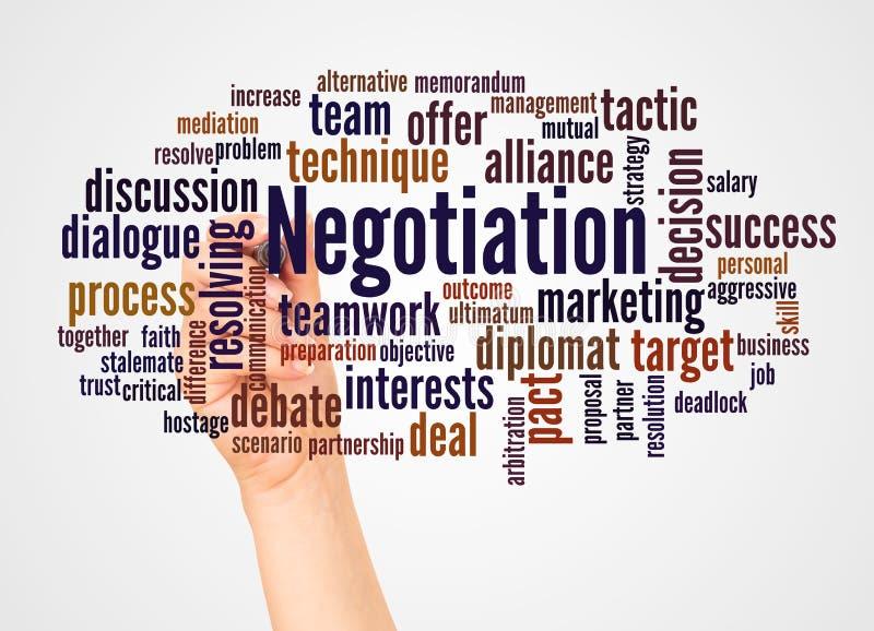 Nube y mano de la palabra de la negociación con concepto del marcador imagen de archivo libre de regalías