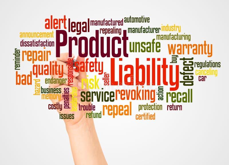Nube y mano de la palabra de la responsabilidad por la fabricación de un producto con concepto del marcador imágenes de archivo libres de regalías